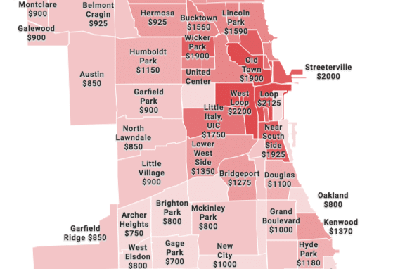 Map: Chicago Neighborhood Rent Prices (Fall 2018) on