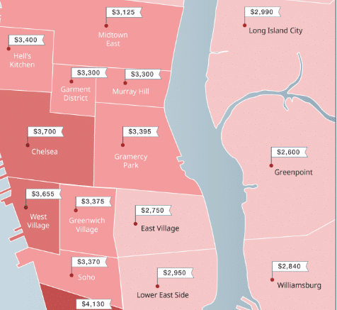 Mapped: New York City Neighborhood Rent Prices (Winter 2019)