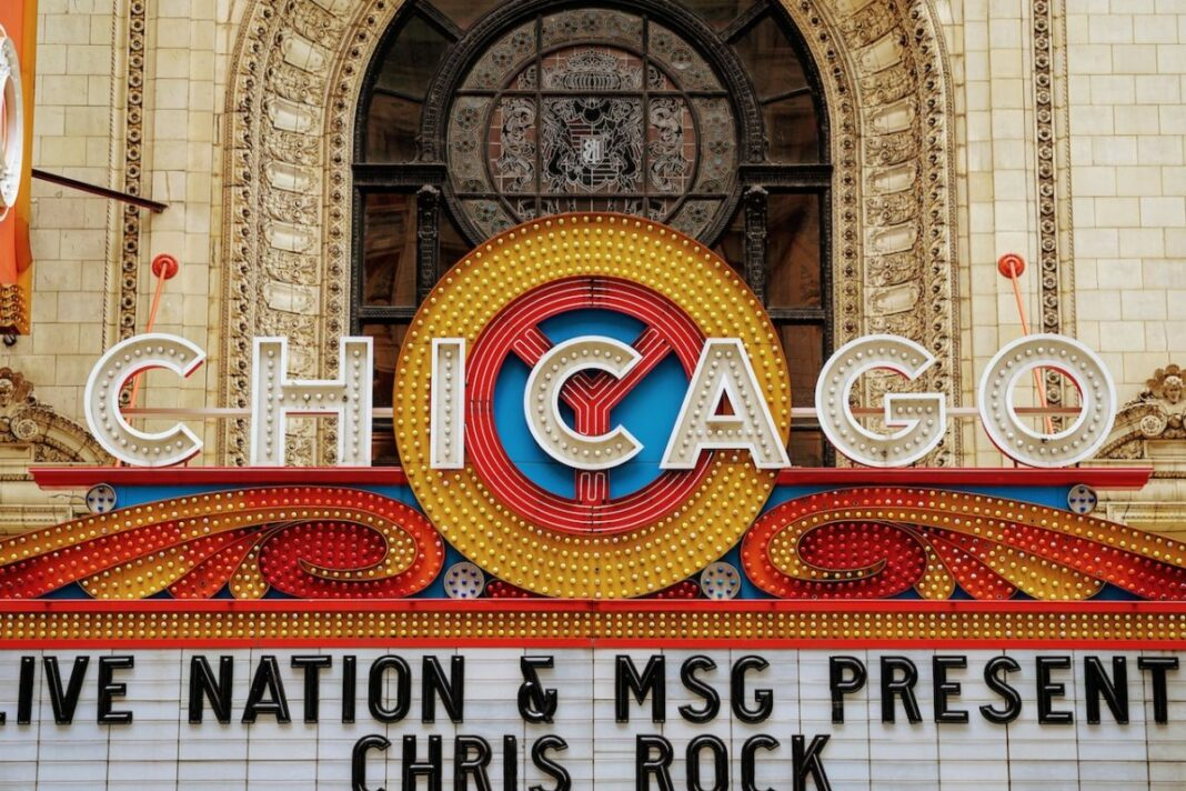 Close up of chicago theater sign