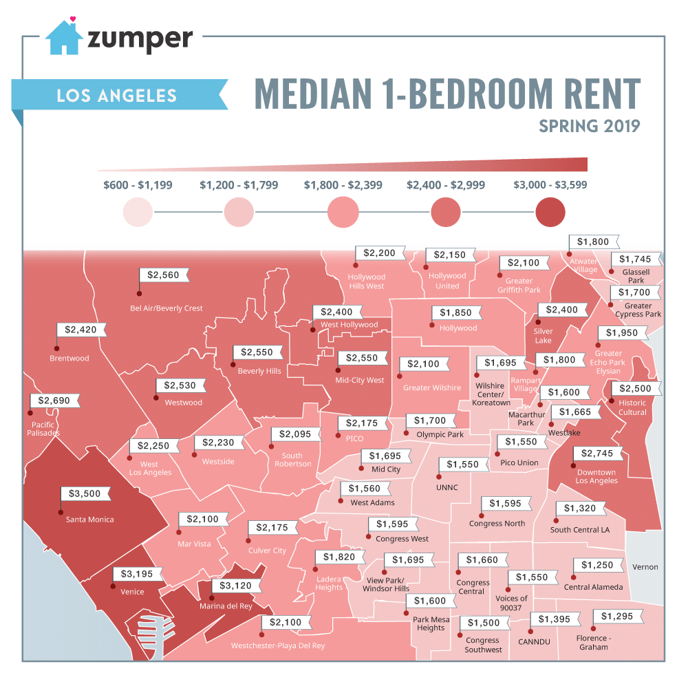 los angeles neighborhood rent map: spring 2019