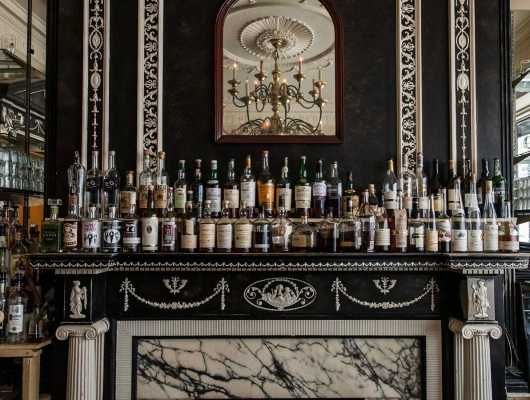 bar with lots of liquor bottles