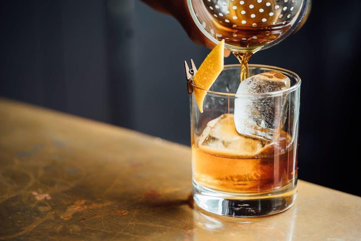 old fashioned being poured into glass