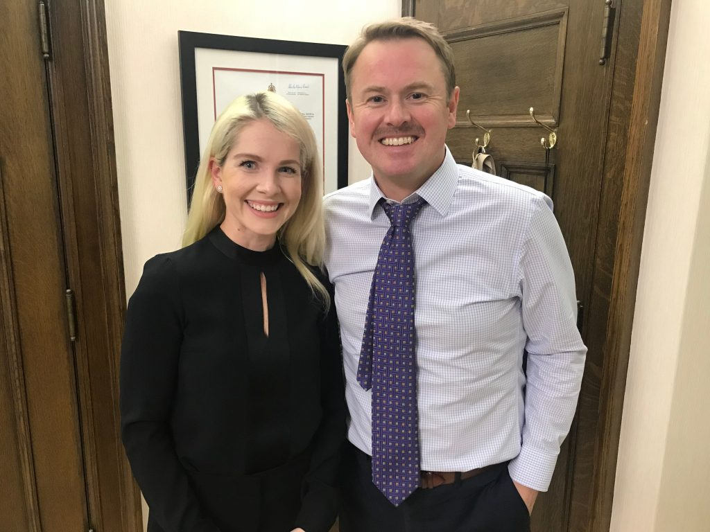 Marissa Lennox with Alberta Health Minister Tyler Shandro
