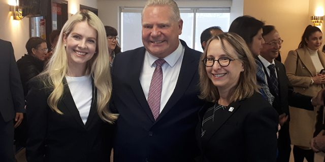 Chief Policy Officer Marissa Lennox with Ontario Premiere Doug Ford