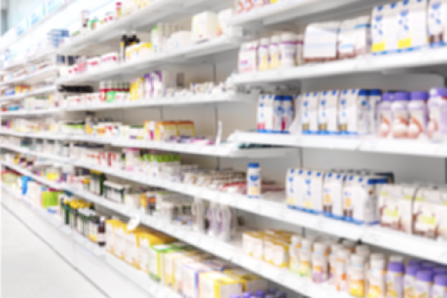 Shelf of drugs in a pharmacy