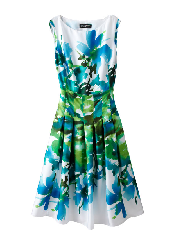 FLORAL---Pleated-Boat-Neck-Dress---$159