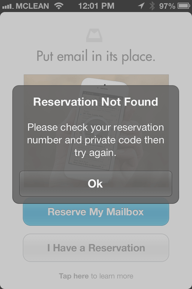 Mailbox Reservation Epic Fail
