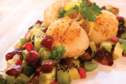 Date, Avocado, Kiwi Salsa on Sea Scallops.