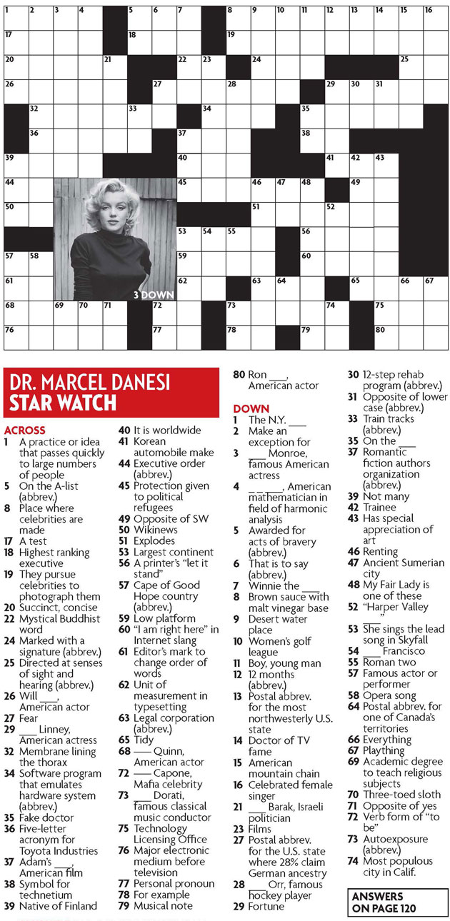 Star Watch May 2013 Crossword Puzzle Everything Zoomer
