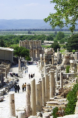 Curetes Street in Ephesus with the Library of Celsus at the end