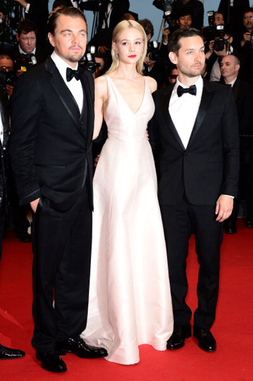 Actors Leonardo DiCaprio, Carey Mulligan and Tobey Maguire