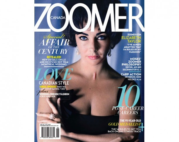 Zoomer icon Liz Taylor, her affair with Richard Burton and their secret Montreal wedding: New details revealed in Zoomer's June issue just as 'Cleopatra' is presented at the Cannes Film Festival. On newsstands May 21st. www.everythingzoomer.com Photo credit: Douglas Kirkland/Corbis (CNW Group/Zoomer Magazine)