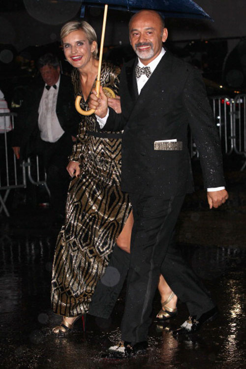 Melita Toscan du Plantier (L) and designer Christian  Louboutin.
