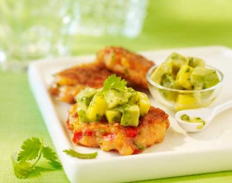 Shrimp-Cakes-with-Mango-Avocado-Salsa