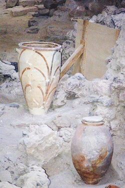 ancient artifacts preserved at Akrotiri in Santorini