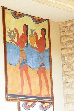 frescoes at Knossos Palace in Crete