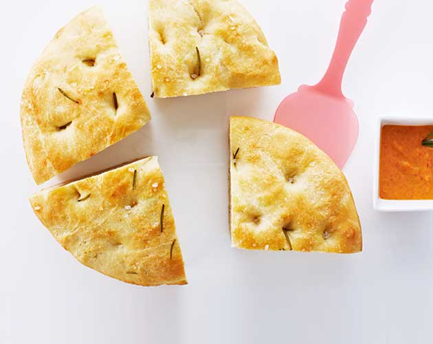 Easy Focaccia Bread Recipe with Creamy White Bean Dip