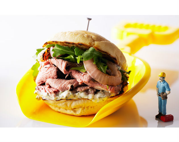 Prime Rib, Grilled Onion and Arugula Aioli Sandwich