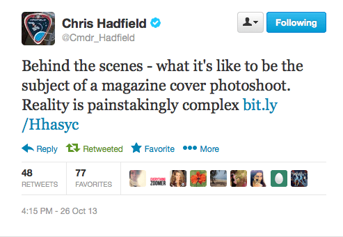 Commander Hadfield Tweet