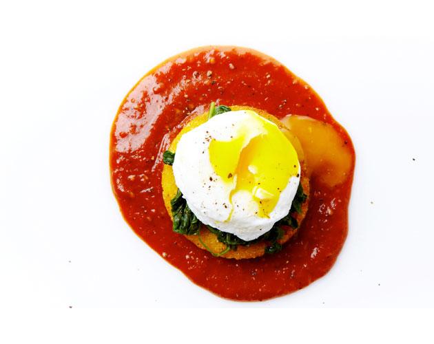 Poached Eggs Over Polenta Toast