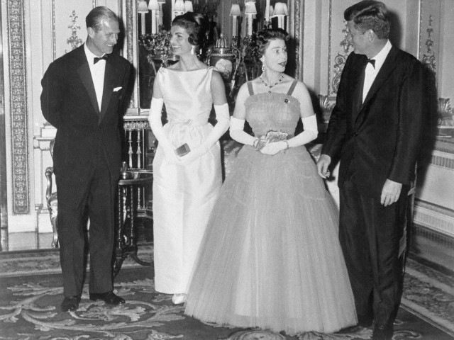 Kennedys Chatting with Queen Elizabeth and Prince Philip
