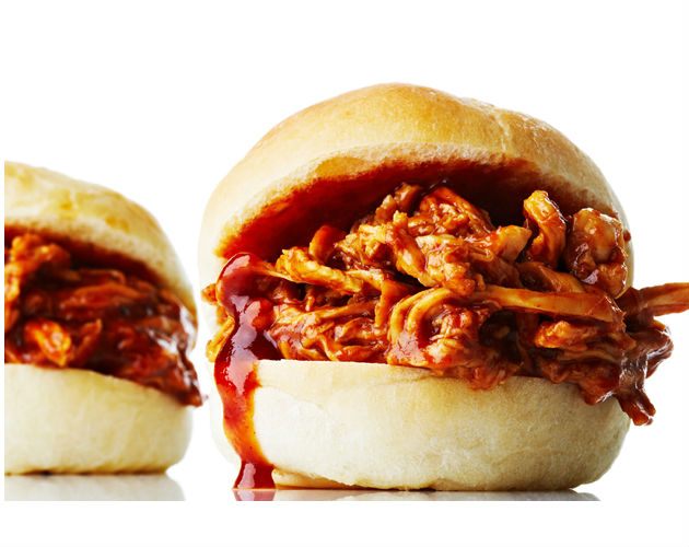 Quick Beer Braised Barbecue Chicken Sliders