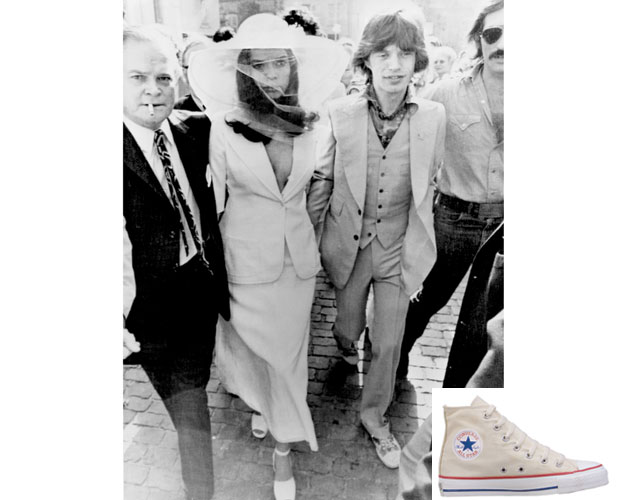 For his 1971 wedding to Bianca, Mick Jagger sported Converse sneakers.