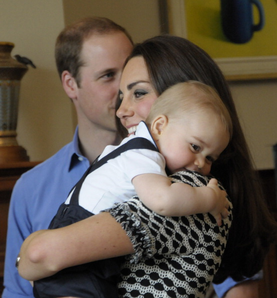 WELLINGTON, NZ - APRIL 09:  In this handout photo provided by Government House NZ, Prince William, Duke of Cambridge, Catherine, Duchess of Cambridge and Prince George of Cambridge attend Plunkett's Parent's Group at Government House on April 9, 2014 in Wellington, New Zealand. The Duke and Duchess of Cambridge are on a three-week tour of Australia and New Zealand, the first official trip overseas with their son, Prince George of Cambridge. (Photo by Government House NZ via Getty Images)