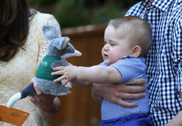 SYDNEY, AUSTRALIA - APRIL 20:  Prince George of Cambridge holds a toy Bilby during a visit to Taronga Zoo on April 20, 2014 in Sydney, Australia. The Duke and Duchess of Cambridge are on a three-week tour of Australia and New Zealand, the first official trip overseas with their son, Prince George of Cambridge. (Photo by Chris Jackson/Getty Images)