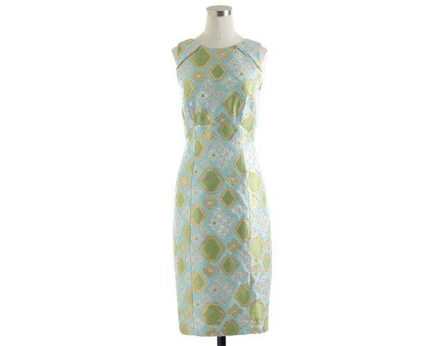 Collection Geo Brocade Dress Ocean Blue $298, JCREW