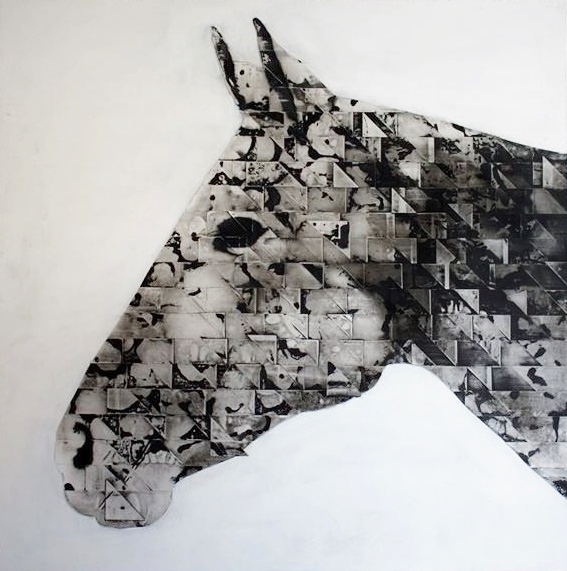 #Hashtag Gallery_Ivan Prusac_White Horse_2013_Sumi ink on mylar on panel_60x60in_$4,000
