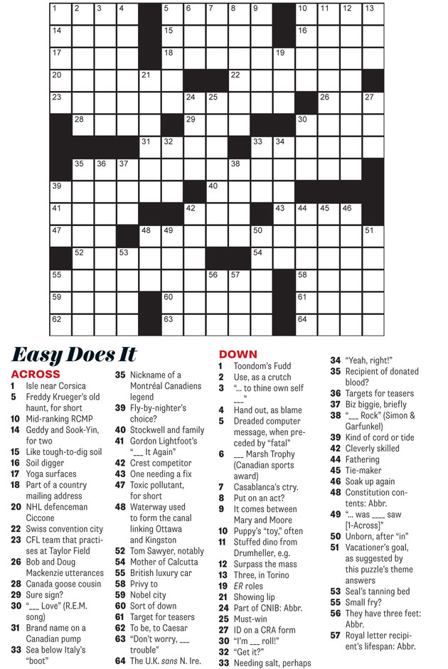 September 2014 crossword easy does it everything zoomer for Farcical xword