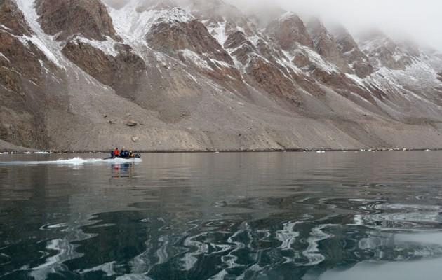 Zodiac cruising in Cuming Inlet