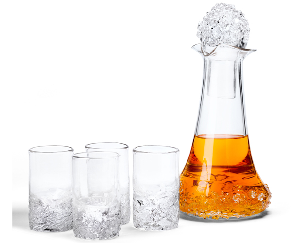 Handblown-Scotch-set-with-4-glasses-decanter-and-stopper,-_195-by-Terry-&-Jenn-Wanless-Craig-of-Fuel-Glassworks
