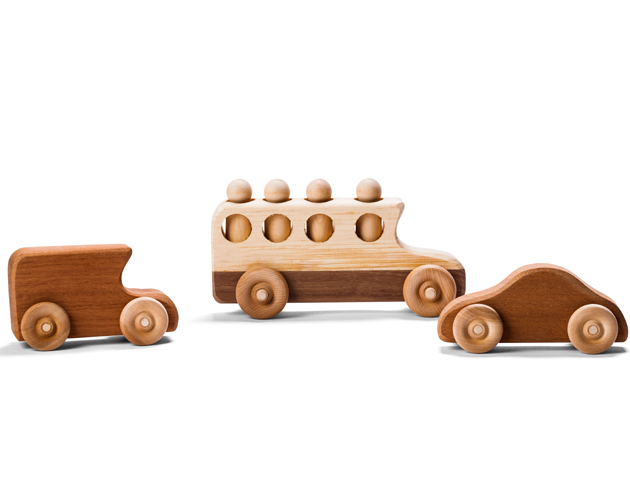 Pine-and-walnut-schoolbustoy.95-and-Mahogany-vintage-cars-_4.49-each-by-Jerry-&-Rosemary-Thorpe,-Thorpe-Toys