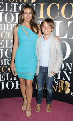 Hurley with her son, Damian, at an Elton John event