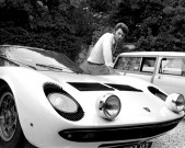 Johnny Hallyday with his Lamborghini Miura on the French Riviera, 1967