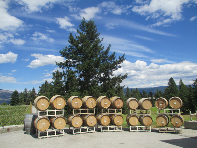 Rolling out the wine barrels at Sumac Ridge