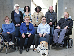 Ellen Eaton with the Rick Hansen Accessibility Team sitting 2nd from the left.