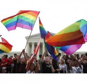 WASHINGTON, DC - JUNE 26:  Same-sex marriage supporters rejoice after the U.S Supreme Court hands down a ruling regarding same-sex marriage June 26, 2015 outside the Supreme Court in Washington, DC. The high court ruled that same-sex couples have the right to marry in all 50 states.  (Photo by Alex Wong/Getty Images)