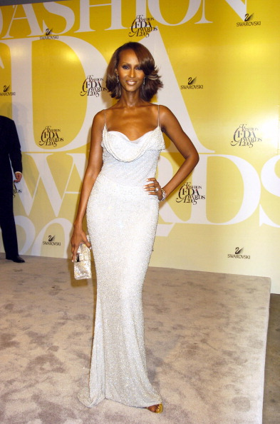 Iman during 2005 CFDA Fashion Awards - Arrivals at The New York Public Library in New York City, New York, United States. (Photo by Robin Platzer/FilmMagic)