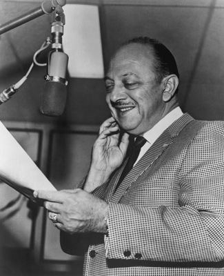 Mel Blanc, the voice of Bugs Bunny, Daffy Duck, Porky Pig and many others, during a recording session in the 1950's. (Photo by Archive Photos/Getty Images)