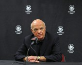 New Jersey Devils president and general manager Lou Lamoriello makes an announcement regarding the teams head coach during an NHL hockey news conference on Saturday, Dec. 27, 2014, in Newark, N.J. Devils are replacing the fired Pete DeBoer with a three-headed coaching staff. Former Washington Capitals coach Adam Oates, ex-Devils assistant and star defenseman Scott Stevens and Lamoriello will split duties on the bench. (AP Photo/Adam Hunger)