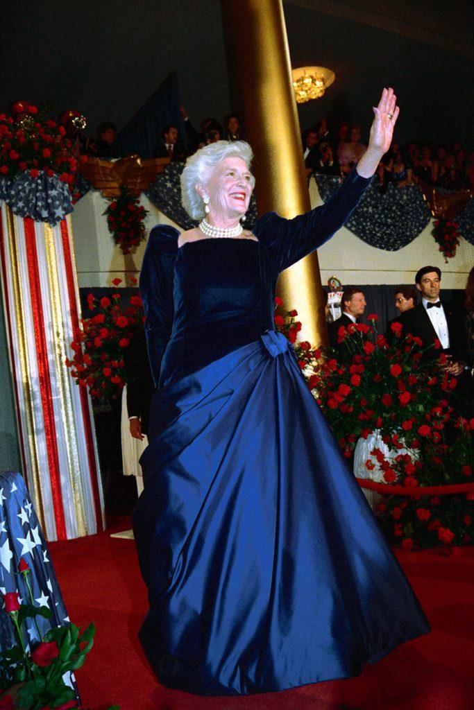 Original caption: Inaugural Ball. Barbara Bush, wife of President George Bush, dances in a full-length gown, at the Inaugural Ball. --- Image by © Bettmann/CORBIS