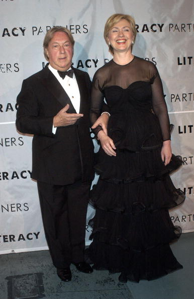 "NEW YORK - MAY 3:  Arnold Scaasi and Senator Hillary Clinton (D-NY) pose backstage for the 20th Anniversary Celebration of ""Literacy Partners"", where famous authors and politicians read selected readings to promote literacy May 3, 2004 in New York City.  (Photo by Scott Eells/Getty Images)"