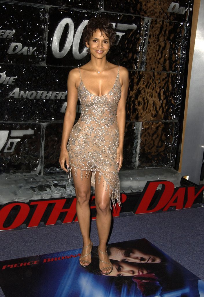 Halle Berry wearing Collette Dinnigan at the Los Angeles Premiere of Die Another Day. (Photo by Steve Granitz/WireImage)