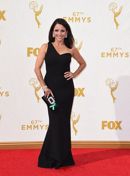 Actress Julia Louis-Dreyfus attends the 67th Emmy Awards on September 20, 2015 at the Microsoft Theater in Los Angeles, California. AFP PHOTO / MARK RALSTON (Photo credit should read MARK RALSTON/AFP/Getty Images)
