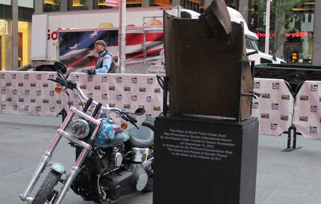 A motorcycle sits next to a piece of steel beam from the south tower from the World Trade Center towers in New York on Tuesday Sept. 6, 2016. Fifteen years after the terrorist attack on the World Trade Center towers in New York, the American city continues to thank the people of Gander, Newfoundland and Labrador, for opening their arms to thousands of stranded travellers. THE CANADIAN PRESS/HO-Stephen Siller Tunnel to Towers Foundation