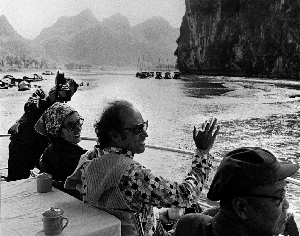 Prime Minister Pierre Trudeau and wife Margaret enjoy a boat ride on the Li Rover near Guilin, Guangxi China in 1973. (CP PHoto/Peter Bregg)