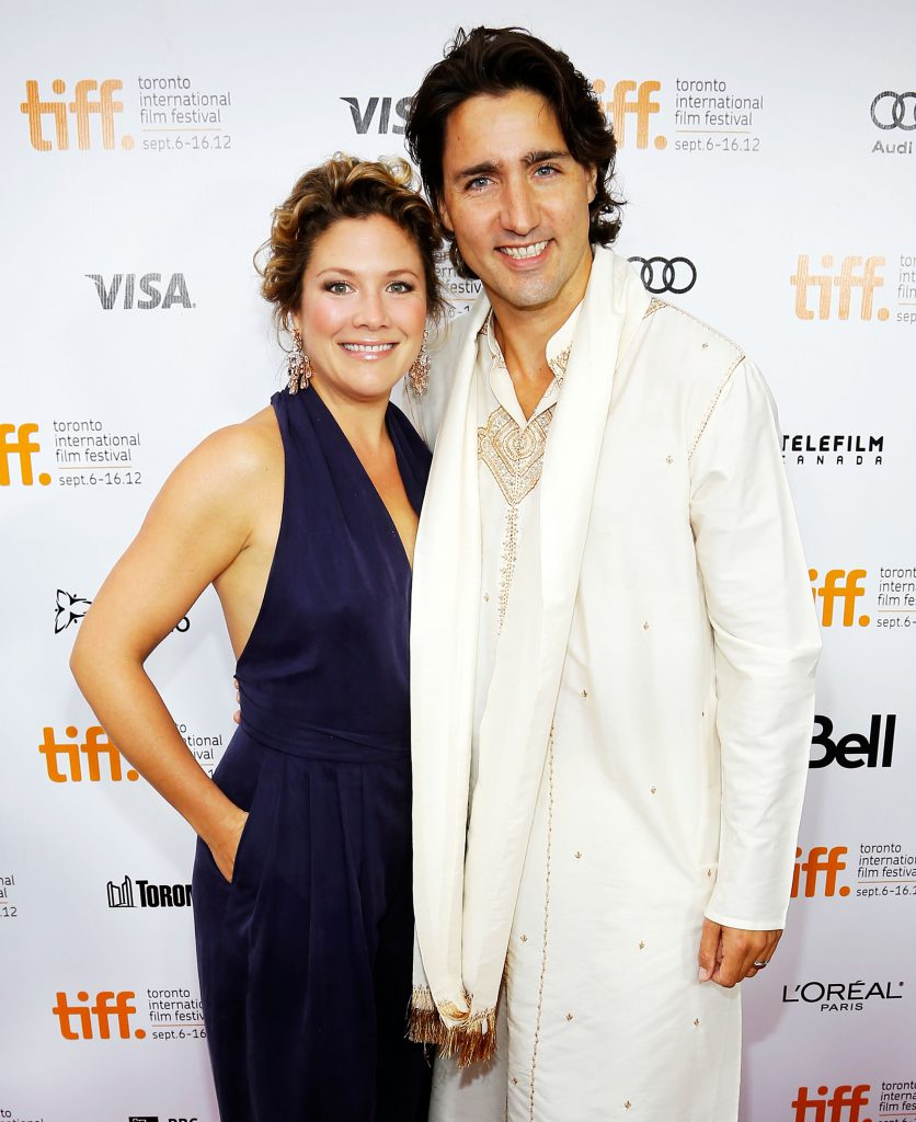 """TORONTO, ON - SEPTEMBER 09: Sophie Gregoire and Justin Trudeau arrive at the """"Midnight's Children"""" Premiere at the 2012 Toronto International Film Festival at Roy Thomson Hall on September 9, 2012 in Toronto, Canada. (Photo by Jemal Countess/Getty Images)"""
